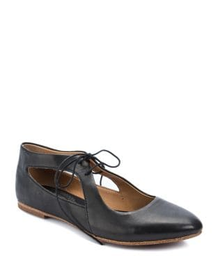 Uptown Lace-Up Leather Flats by Latigo