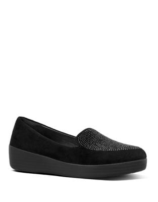 Sparkly Embellished Suede Loafers by FitFlop