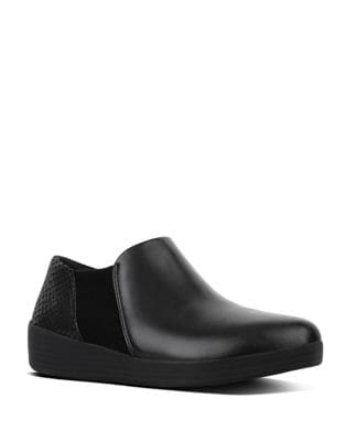 Elastic TM Slip-On Leather Loafers by FitFlop