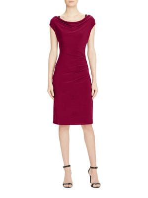 Short Sleeve Cowlneck Sheath Dress by Lauren Ralph Lauren