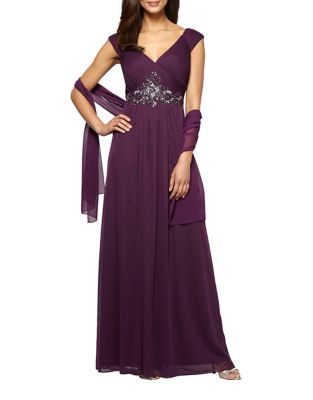 Beaded A-Line Gown by Alex Evenings