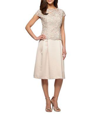 Petite Tea Length Mock Dress by Alex Evenings