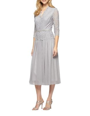 Petite Embellished Tea-Length Dress by Alex Evenings
