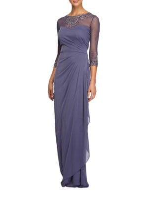 Petite Illusion Neck A-Line Gown 500087237818