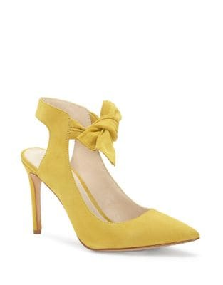 Leather Ankle Bow Pumps by Louise et Cie