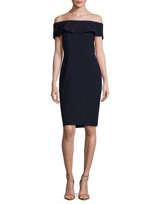 Off Shoulder Crepe Dress by Karl Lagerfeld Paris