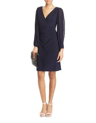 Pleated Sleeve Knee-Length Dress by Lauren Ralph Lauren