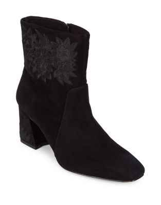 Teagan Embroidered Suede Booties by IMNYC Isaac Mizrahi