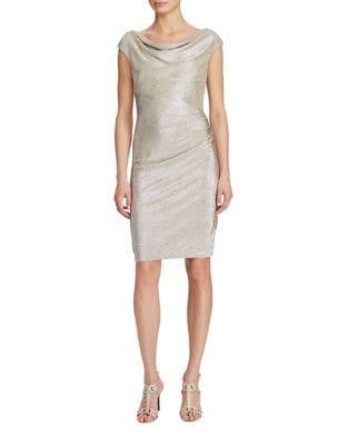 Metallic Cowlneck Dress by Lauren Ralph Lauren