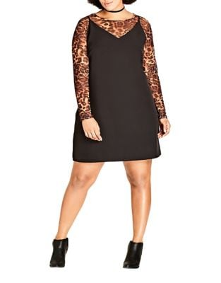 Plus Long Sleeve Leopard Overlay Dress by City Chic