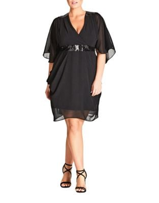 Plus Wrap Style Lace Dress by City Chic