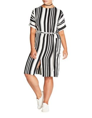 Plus Stripe Tie Dress by City Chic