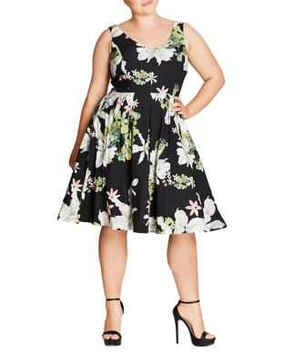 Plus Floral Sleeveless Dress by City Chic
