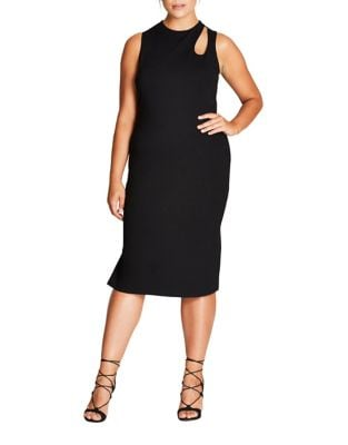 Plus Crewneck Sleeveless Dress by City Chic