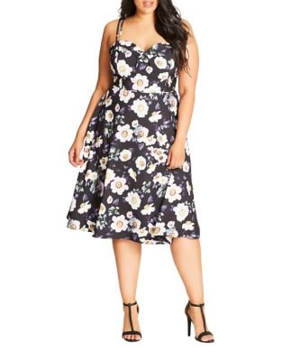 Plus Spaghetti Floral Dress by City Chic