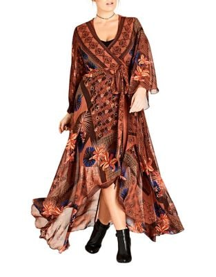 Plus Oriental V-Neck Caftan by City Chic