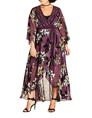 Plus Floral V-Neck Caftan by City Chic
