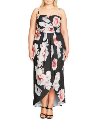 Plus Floral Print Pleated Dress by City Chic