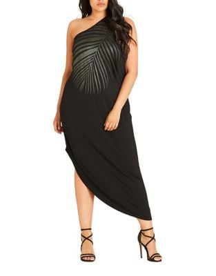 Plus Shimmer Palm Maxi Dress by City Chic