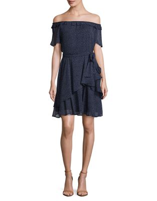 Petite Polka Dot Off-Shoulder Dress by Tahari Arthur S. Levine