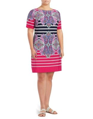Plus Printed Jersey Shirt Dress by Eliza J