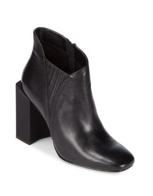 Mal Leather Block Heel Booties by H Halston