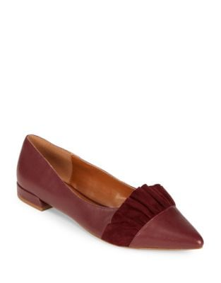 Hazel Point Toe Leather Flats by H Halston