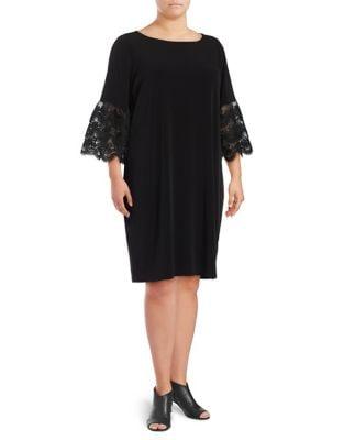 Plus Matte Jersey Lace Bell Sleeve Dress by Ivanka Trump
