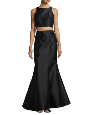 Two-Piece Satin Cropped Top and Mermaid Skirt by Betsy & Adam