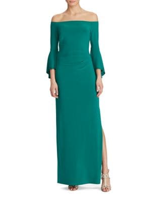 Photo of Off-the-Shoulder Jersey Gown by Lauren Ralph Lauren - shop Lauren Ralph Lauren dresses sales