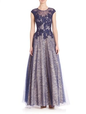 Illusion Lace Accented Gown by Basix