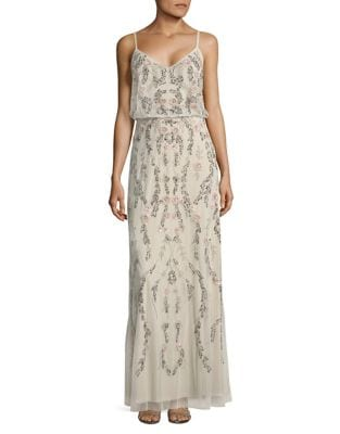 Floral Embellished Blouson Gown by Adrianna Papell