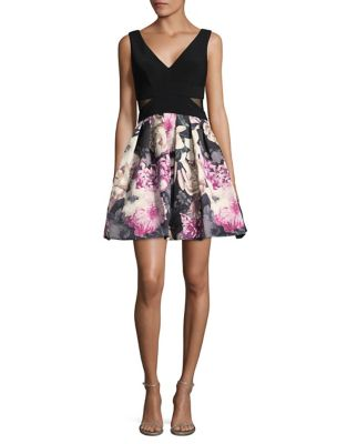 Contrast Floral Fit and Flare Dress by Xscape