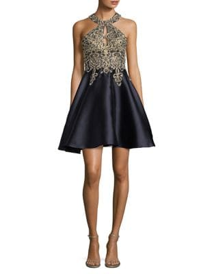 Embroidered Halter Dress by Xscape