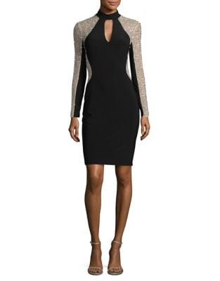 Embellished Mesh-Trimmed Sheath Dress by Xscape