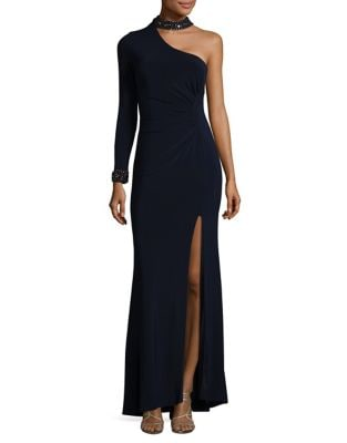 Embellished One-Shoulder Choker Gown by Xscape