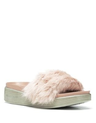 Real Rabbit Fur Footbed Slide Sandal by Donald J Pliner