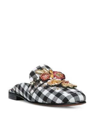 Plaid Embroidered Textile Mules by Sam Edelman