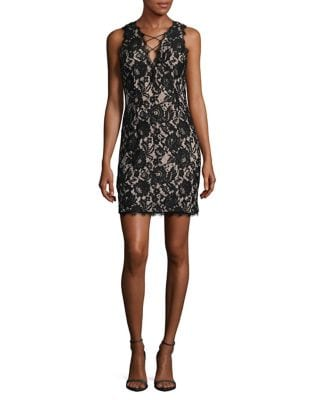 Lace Tie Up Mini Dress by Aidan Aidan Mattox