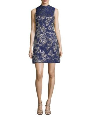 Metallic Floral Mockneck Dress by Aidan Aidan Mattox