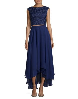 Cropped Lace Top and Hi-Lo Skirt Set by Aidan Aidan Mattox