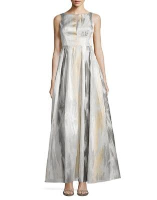 Metallic Boatneck Gown by Aidan Aidan Mattox