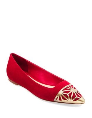 Cap Toe Suede Ballet Flats by B Brian Atwood