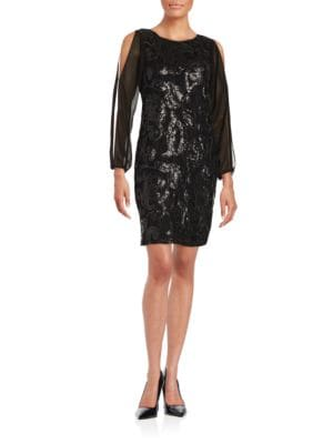 Floral Sequin Shift Dress by Marc New York Andrew Marc