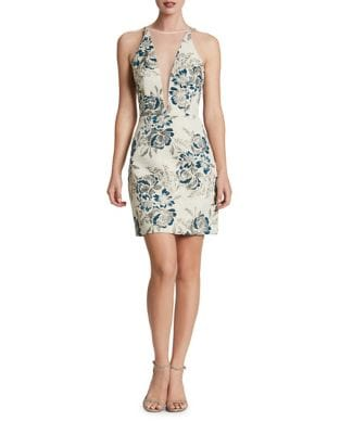 Plunging Sleeveless Mini Floral Dress by Dress The Population
