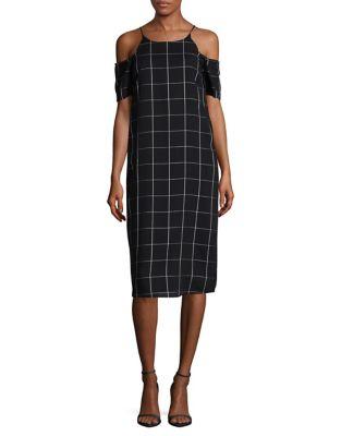 Patterned Cold Shoulder Dress by Wayf