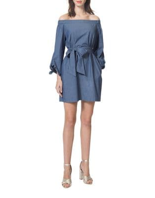 Off-the-Shoulder Denim Dress by Donna Morgan