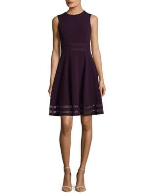 Sheer Trim Roundneck Dress by Calvin Klein