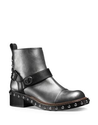 Studded Moto Leather Booties by COACH
