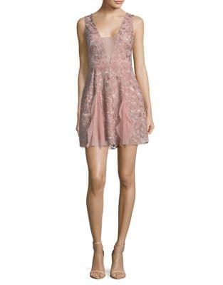 Phoebe Embroidered Tulle Sheath Dress by BCBGMAXAZRIA